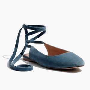 Madewell 7 Ankle wrap flats in dusty waterfall NIB