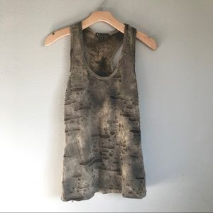 FOREVER 21 Olive Green Distressed Tank