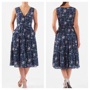 Eshakti Blue Floral Dress