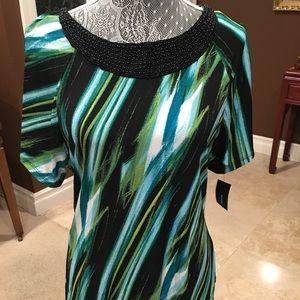 Alfani blouse with black beading detail.