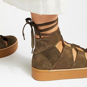 Free People Venice deep taupe suede lace-up