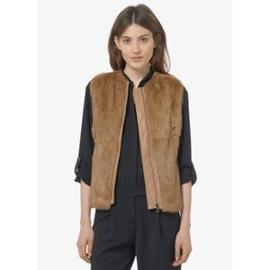 VINCE Women's Natural Fur Vest With Quilted