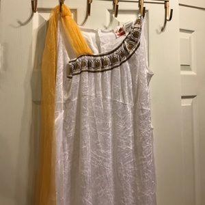 Roman Goddess Toga Dress Costume Gold & White