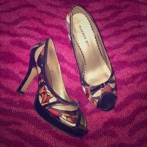 Floral print peep toes heels with bow on front 💋
