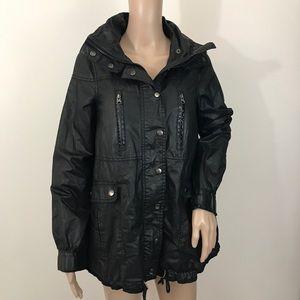 Zara black jacket coat hood XS women's