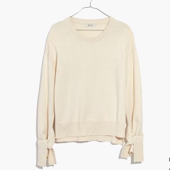 Madewell Tie Cuff Pullover Sweater in Cream e07a06d3b