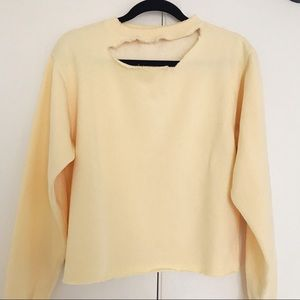 Brandy Melville Yellow Crop Sweatshirt