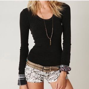 [Free People] Lou Flannel Cuffed Thermal Black Top