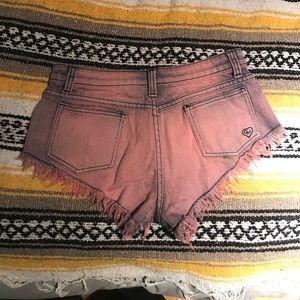LF carmar pink / blue denim shorts