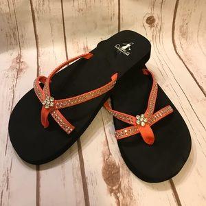 CORKYS Faux Rhinestone Flip Flop Sandals
