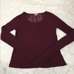 Lucky brand thermal maroon lace Detail small
