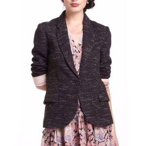 Anthropologie Cartonnier Tweed Black Blazer - XS