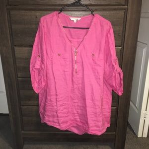 XXL Pink Linen Blouse Company Brand