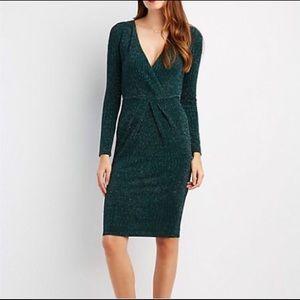 Shimmer Hunter Green Skin Tight Midi Dress