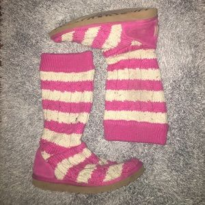 Ugg women's knit knee boots pink size 8