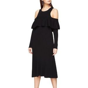 BCBGMAXAZRIA Carol Ann Cold Shoulder Dress Blk SM