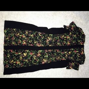 Vintage Look Black & Floral Midi Shift Dress