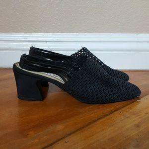 Vtg black macrame slingback chunky heel sandals
