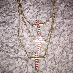 Maroon and White Three strand Necklace