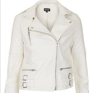 Topshop Quilt Detail White Biker Jacket