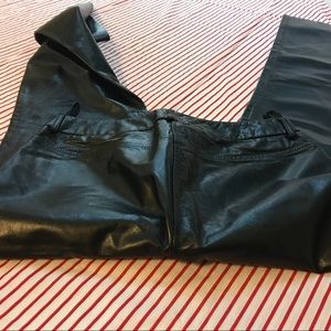 Ladies black leather jeans