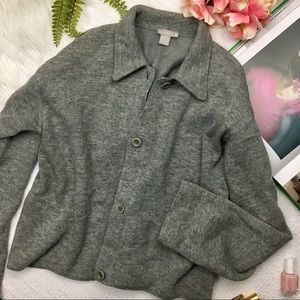 J. Crew Lambswool Blend Gray Fleece Lined Sweater