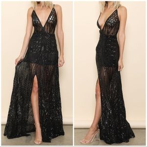 🆕 Black Sequin Sheer Sexy Slit Maxi Dress Gown