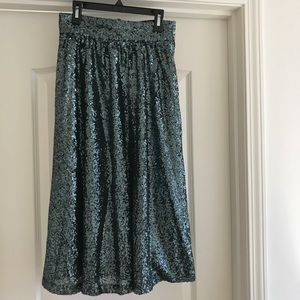 River Island Sequin Midi Skirt Emerald