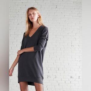 London Sweatshirt Dress in Dark Gray