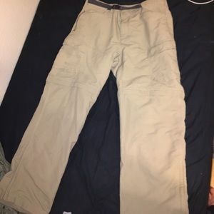 The north face convertible khaki cargo pants/short