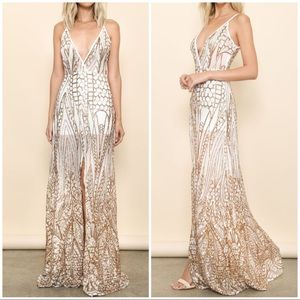 🆕 Gold Sequin Sheer Sexy Slit Maxi Dress Gown