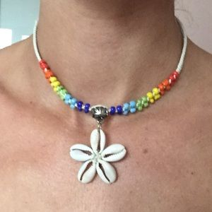 The cowrie flower rainbow necklace