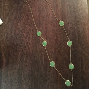 Green gem stone long necklace