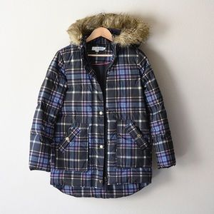 Boden UK made plaid puffer coat with faux fur hood