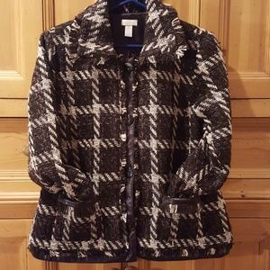 Chico's Brown plaid jacket Size 2