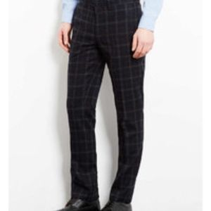 Topman Dark Navy & Grey Checked Suit Pants