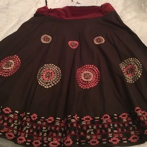 Long flowing boutique quality embroidered skirt