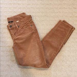 J. Crew toothpick corduroy skinny jeans ankle 25