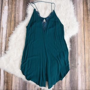 Free People teal lace slip dress. FP slip dress