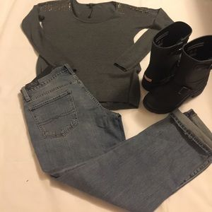 Express studded gray sweater