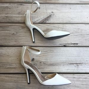 Charlotte Russe White pointed 3 strap heel