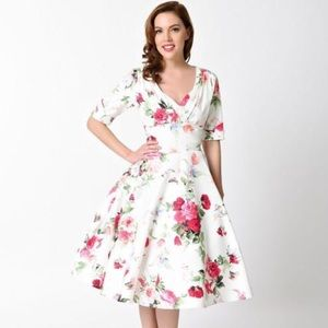 Unique Vintage Floral White Dress Retro Pinup