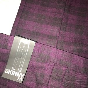 Topman Black & Purple Checked Suit Pants