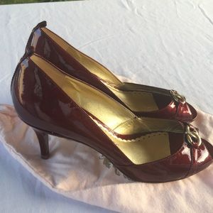 Juicy Couture Red Patent Peep Toe Pumps Heels 8.5