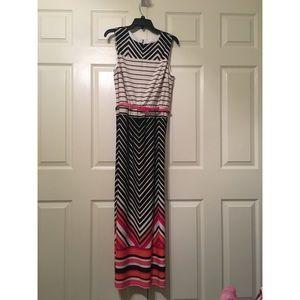 Black, Pink, & White Striped Maxi Dress