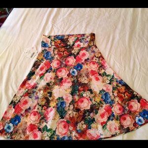 NWT Lularoe Floral Azure Skirt Large