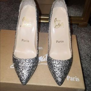 Shimmery Christian loubs red bottoms