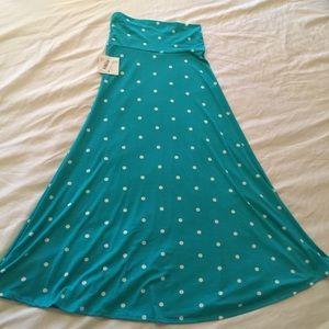 NWT Lularoe Teal Polka Dot Maxi Skirt Medium