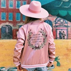 Silk bomber jacket blush small Jac Vanek