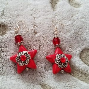 Red Star ⭐ Dangle Earrings with Crystal Accents